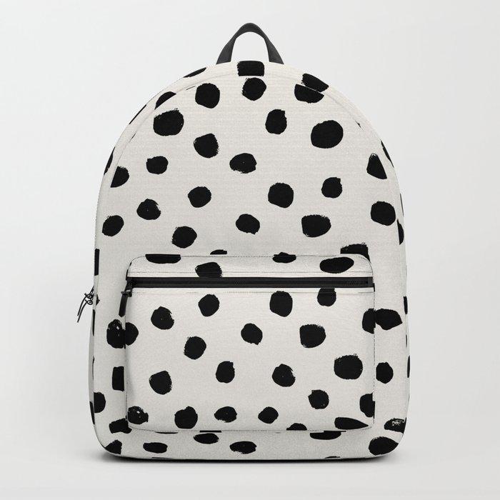 Preppy brushstroke free polka dots black and white spots dots dalmation animal spots design minimal Backpack