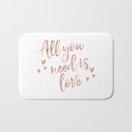 All you need is love - rose gold and hearts Bath Mat