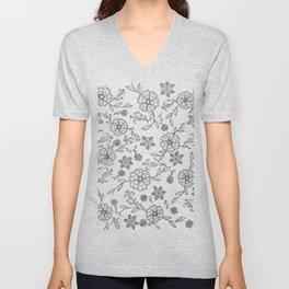 Floral pattern black and white 1 Unisex V-Neck