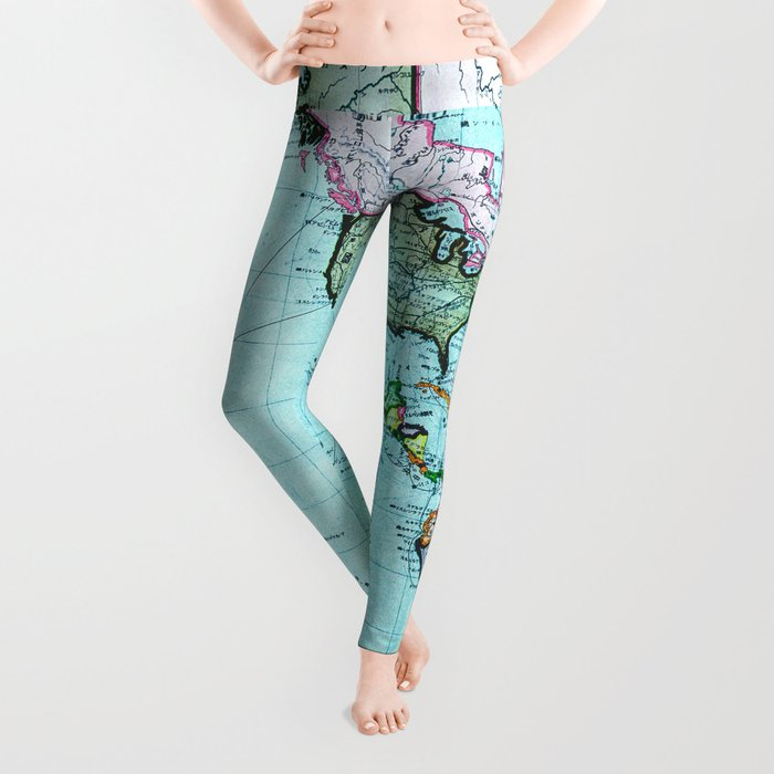 Turquoise Map Pattern Leggings