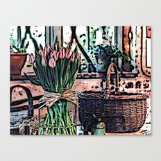 Wicker Basket And Flowers Canvas Print
