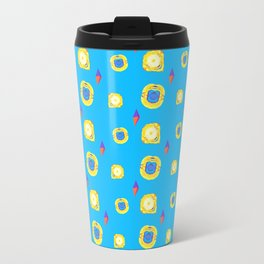 yellow substances in a blue matter Travel Mug