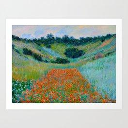 Claude Monet Impressionist Landscape Oil Painting Poppy Field in a Hollow near Giverny Kunstdrucke