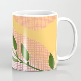 Watercolor Leaf Abstraction Orange and Pink Coffee Mug
