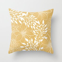 Floral Prints and Leaves, Line Art, Yellow Throw Pillow