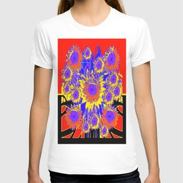 Purple Sunflowers Graphic in Red & Black T-shirt