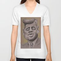 jfk V-neck T-shirts featuring JFK by chadizms