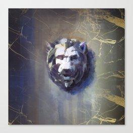 Lion head Black Marble Canvas Print