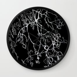 Birch. tree leaves. nature, graphic art Wall Clock