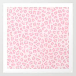 Girly blush pink white abstract animal print Art Print