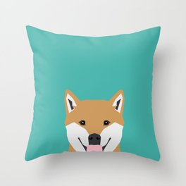 Shiba Inu dog head cute gifts for shiba inus lovers dog breed art Throw Pillow