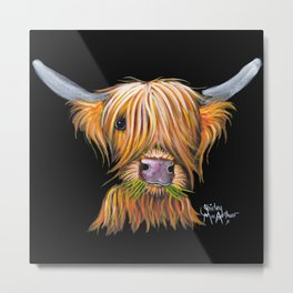 Scottish Highland Cow ' LITTLE VIKING ' by Shirley MacArthur Metal Print
