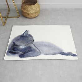 """""""The queen has arrived"""" Expressive Cat Watercolor Painting Rug"""