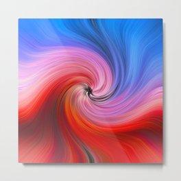 Light Fibers Color Waves Meeting Vortex Metal Print