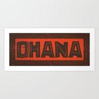 ohana Art Prints featuring Ohana by Big Batty Daddy