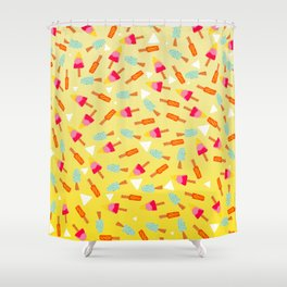 Retro hand drawn mint lemon lime ombre ice cream pattern white triangles illustration Shower Curtain