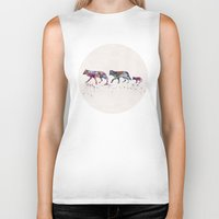 wolves Biker Tanks featuring Wolves by Watercolorist