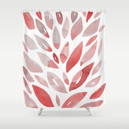 Watercolor floral petals - living coral and grey Shower Curtain