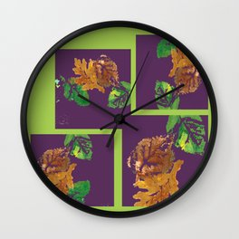 Leaf Painting in Plum and Lime Wall Clock