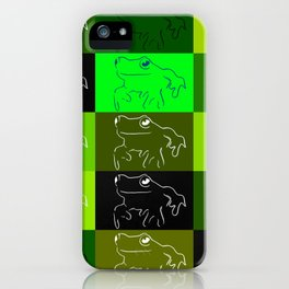 Green tree frog pattern, drawings of frogs, in green, for stickers, frog stickers, iPhone Case