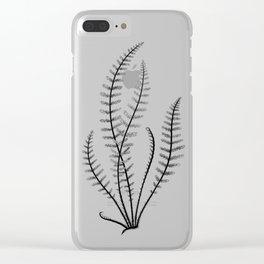 Minimal Black Fern Clear iPhone Case