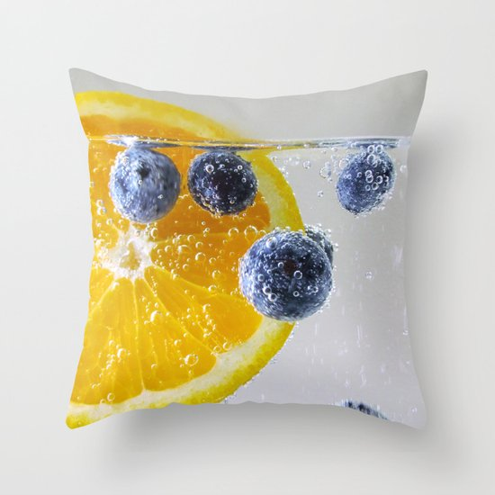 Bubbly Fruit Throw Pillow