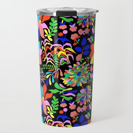 60's Fiesta Floral in Black Travel Mug