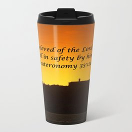 Christian Artwork: The beloved of the Lord shall dwell in safety by Him, God, Love, NZ Metal Travel Mug