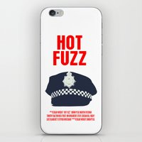 hot fuzz iPhone & iPod Skins featuring Hot Fuzz Movie Poster by FunnyFaceArt