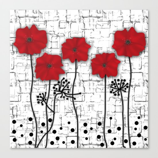 Poppies red n white background . Canvas Print