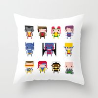 x men Throw Pillows featuring Pixel X-Men by PixelPower