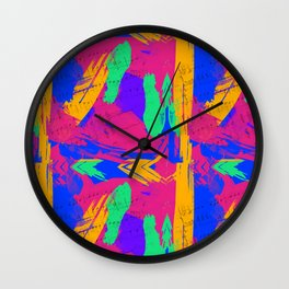Wild Paint Brush Colors and Music Sheets Wall Clock