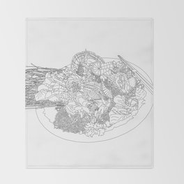 Beautiful Sashimi Set - Line Art Throw Blanket