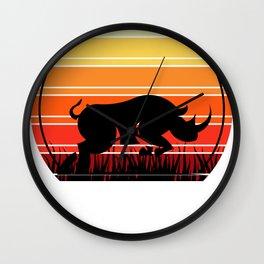 Rhino Retro Rhinoceros Wall Clock