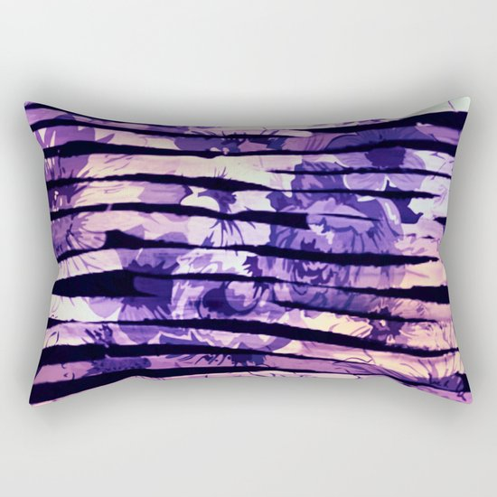 purple floral stripes Rectangular Pillow