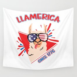 Llamerica Since 1776 Llama Lover 4th July Holiday Wall Tapestry