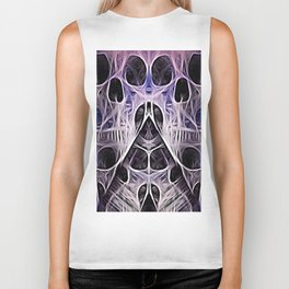 webbed abstract skulls Biker Tank