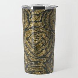 Intense Rose Print on Textured Canvas Travel Mug