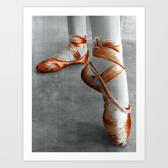 Ballet Shoe Orange Art Print