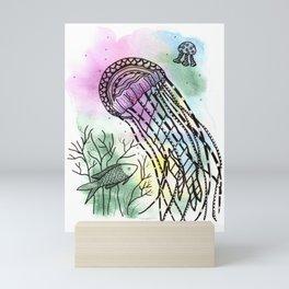 Jellyfish in watercolor and ink Mini Art Print