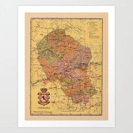 Map Of Cordoba 1900 Art Print