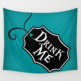 """""""Drink Me"""" Alice in Wonderland styled Bottle Tag Design in 'Alice Blue' Wall Tapestry"""