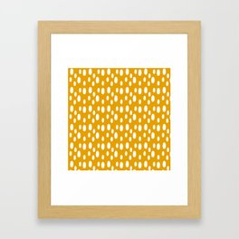 Yellow pattern with white spots Framed Art Print