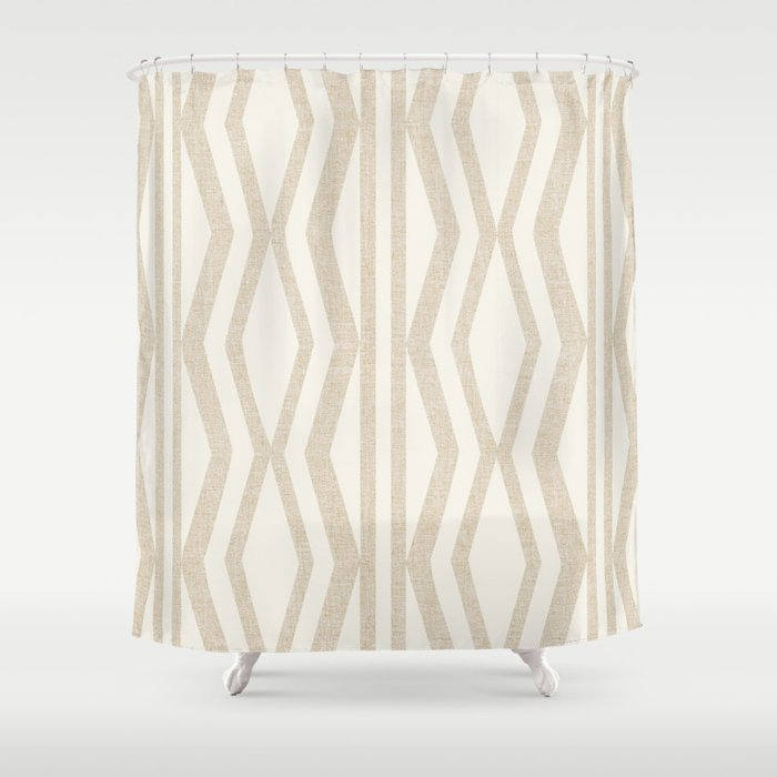 Pastel White Cream Linen Geometric Pattern Shower Curtain
