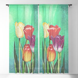 Happy Easter Greetings Tulips #society6 #flowers Sheer Curtain