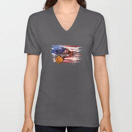 Basketball USA flag Unisex V-Neck