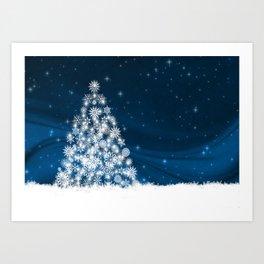 Blue Christmas Eve Snowflakes Winter Holiday Art Print