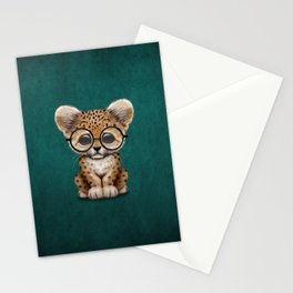 Cute Baby Leopard Cub Wearing Glasses on Teal Blue Stationery Cards