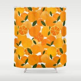 mediterranean oranges still life  Shower Curtain