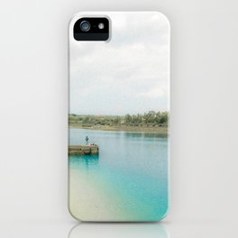 Teal Blue Clear Oceanside with Man Fishing iPhone Case